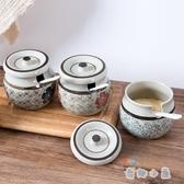 調料罐廚房用品帶勺調料瓶帶蓋鹽罐調味盒調味罐【奇趣小屋】