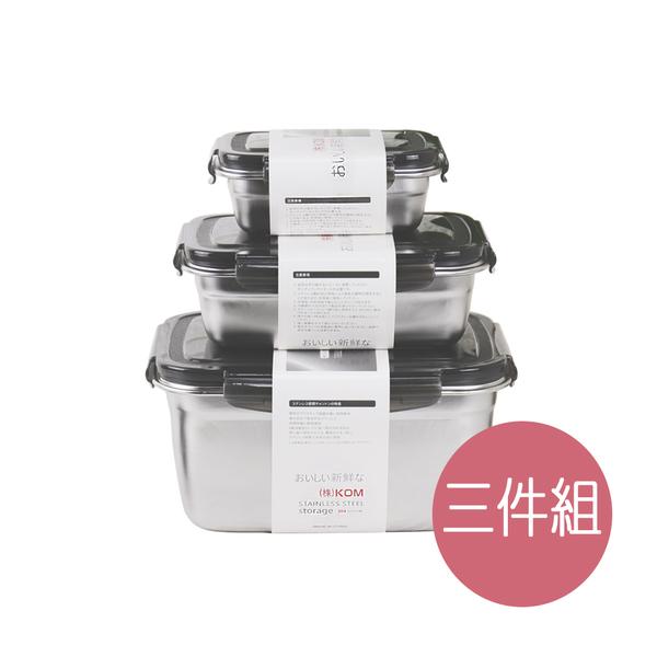 KOM►日式萬用保鮮盒三入組-冰酷黑(350ml+850ml+2800ml)