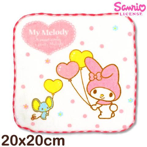 【esoxshop】Sanrio 美樂蒂窯花小手巾-拿氣球│MIT台灣製造《My Melody/方巾/手帕/兒童毛巾》