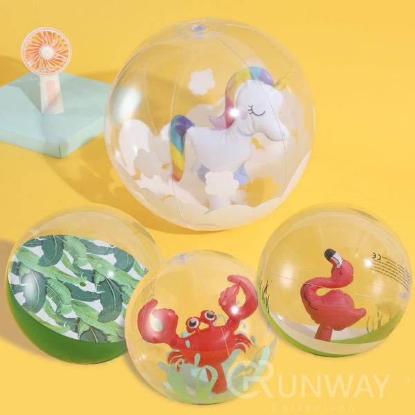 立體 球中球 夢幻獨角獸 芭蕉葉 螃蟹 紅鶴 35cm 沙灘球 充氣玩具 水上玩具 拍照道具 網美直播小物