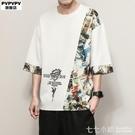 棉麻T恤~短袖T恤男寬鬆ins男裝2021新款夏季大碼韓版潮流胖子半袖衣服