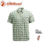 【Wildland 荒野 男 彈性抗UV格子短袖襯衫《湖水綠》】0A71208/防曬襯衫/登山休閒服/旅遊/吸濕快乾