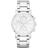 DKNY 強眼定番都會三眼時尚腕錶(鋼帶-銀)