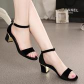 粗跟涼鞋女夏季仙女風黑色高跟鞋