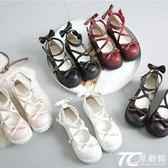 娃娃鞋/日系厚底女鞋可愛蝴蝶結圓頭娃娃鞋原宿平底軟妹皮鞋