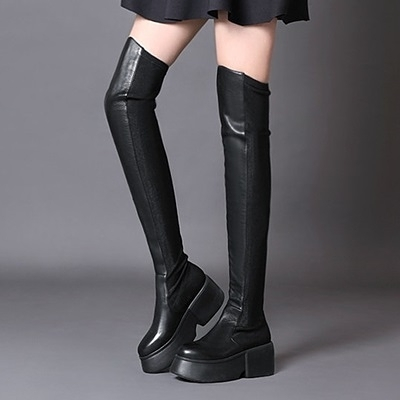 長靴-純色性感顯瘦彈力布拼接厚底真皮女過膝靴2款71ab7【巴黎精品】