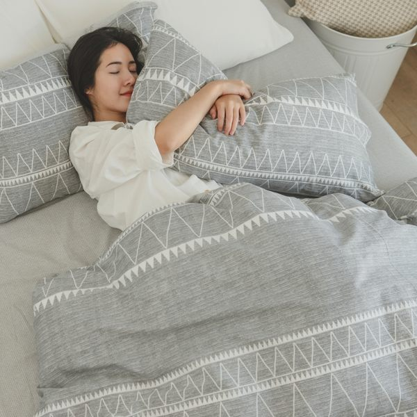 純棉 床包被套組(鋪棉被套) 雙人【格瑞先生】ikea風 100%精梳棉 翔仔居家