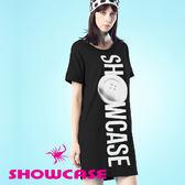 【SHOWCASE】純棉柔感鈕釦印花寬版長T恤/洋裝(黑)