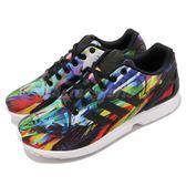 【五折特賣】adidas 休閒慢跑鞋 ZX Flux 黑 白 彩虹 特殊圖騰 基本款 男鞋 女鞋【PUMP306】 AF6323