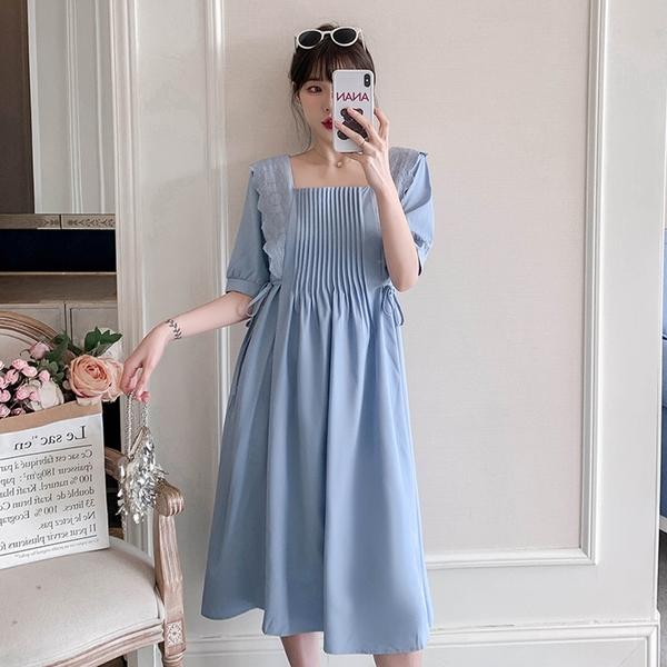 *ORead*泡泡袖法式氣質連身裙(淺藍M~2XL)