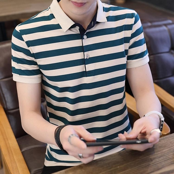 男士短袖t恤夏季翻領POLO衫中青年男裝新款半袖帶領條紋體恤 淇朵市集