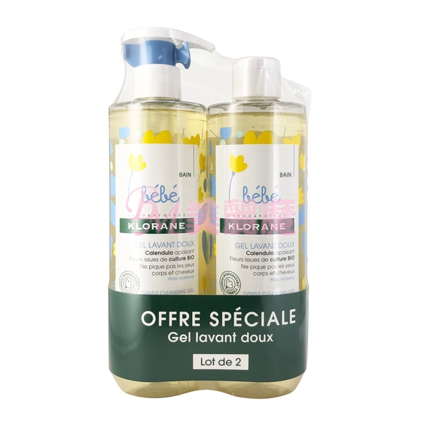 【美麗魔】二入組 法國最新包裝 KLORANE蔻蘿蘭 寶寶洗髮沐浴精500ml 新生兒