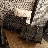 鍊條包包包女潮洋氣手提包百搭側背斜背包大容量菱格鍊條包大包 美物居家
