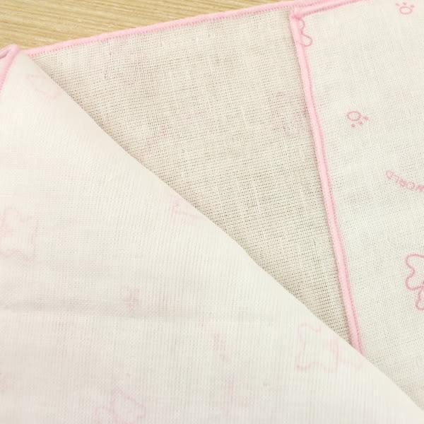 【愛的世界】純棉小熊印花紗布浴巾-粉/2入*6包-台灣製- ★用品推薦