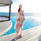 波希米亞長裙-彩色條紋優雅氣質洋裝73sg7【巴黎精品】