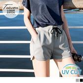 《KS0506》台灣製造.抗UV腰鬆緊抽繩拼色印花運動短褲 OrangeBear