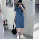 牛仔洋裝 韓版寬鬆短袖牛仔連身裙女夏季新款減齡顯瘦復古氣質襯衫裙子