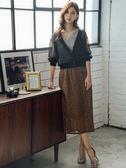 秋裝上市[H2O]超顯瘦直筒蕾絲長裙 - 綠/藍/咖啡色 #9652006