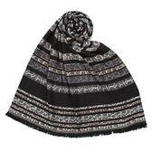 CalvinKlein CK滿版LOGO拼色絲質寬版披肩圍巾(灰/褐色)103260