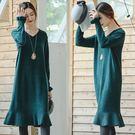 洋裝-加厚版綠色荷葉邊毛衣裙/設計家 Z...