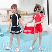 兒童游泳衣中大童女童連體裙式女孩6-8-12-15歲學生專業ins風泳裝