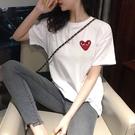 韓國ins超火刺繡愛心短袖女純棉T恤明星款男情侶裝寬鬆白色打底衫【快速出貨】
