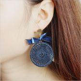 民族風 手工 編織 精緻 絲帶 聖誕 蝴蝶結 耳釘 誇張 大圓盤 耳環