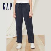 Gap女裝 簡約純色鬆緊休閒褲 442185-靛藍色