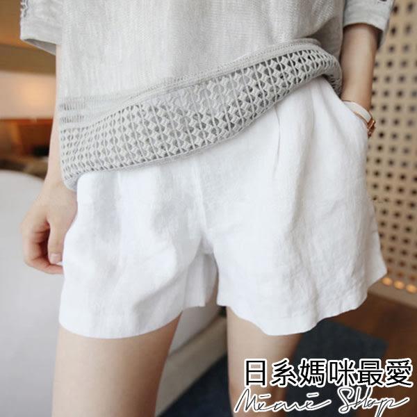 孕婦裝 MIMI別走【P61493】好感輕呼吸 透氣棉麻孕婦短褲 托腹褲 特價