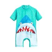 兒童泳衣男童連體溫泉速干防曬游泳衣男孩可愛寶寶鯊魚沙灘防曬服