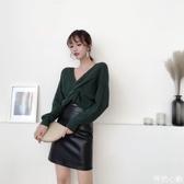 韓版性感V領高腰露臍短毛衣女秋季薄款慵懶風寬鬆長袖上衣 怦然心動