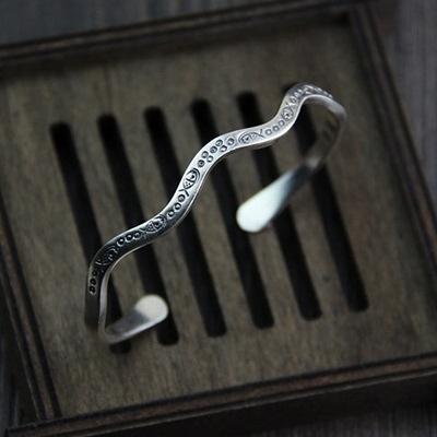 純銀手環(泰銀)-雕花小魚生日情人節禮物女手鐲73gg6[時尚巴黎]
