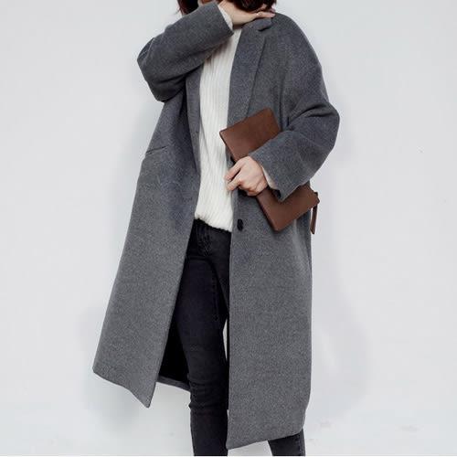 一粒釦長大衣 時尚BF風超長款毛呢大衣 艾爾莎【TGK4591】