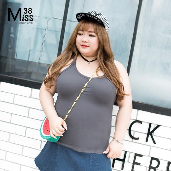 Miss38-(現貨)【A5632-1】大尺碼Y字背心 素面純色 彈力親膚 羅紋細肩 純棉小可愛內搭T-中大尺碼