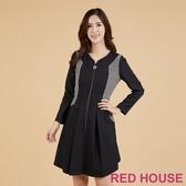【RED HOUSE 蕾赫斯】格紋剪接修身洋裝(黑色)