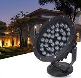 220v LED投光燈戶外防水投射燈照樹燈射樹插地草坪射燈七彩景觀庭院燈  麻吉鋪