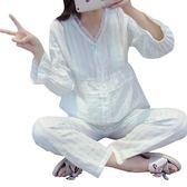 薄款純棉紗雙層紗布月子服韓版春秋產婦孕婦哺乳睡衣長袖喂奶夏季 居享優品