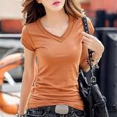 短袖t恤女夏季純黑白色V領顯瘦短款棉半袖體恤女潮【時尚大衣櫥】