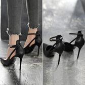高跟鞋 2018春夏新款尖頭夜場黑色高跟鞋女細跟性感百搭氣質一字扣帶單鞋