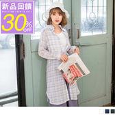 OrangeBear《AB5714》簡約格紋附抽繩長版罩衫/洋裝--適 XL~6L