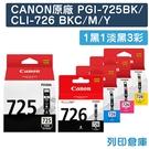 原廠墨水匣 CANON 1黑1淡黑3彩 PGI-725 BK+CLI-726 BK+C+M+Y /適用 CANON MG5270/MG5370/MG6170/MG6270