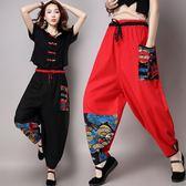新款中國風民族風女裝褲子棉麻燈籠闊腿褲燈籠褲