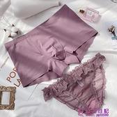 2條組紫色 素色蕾絲包臀情侶設計性感透氣平角褲情侶內褲 波點蕾絲透視大碼內褲【公主日記】