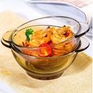 碗 雙耳碗玻璃茶色碗碟套裝水果麥片沙拉碗家用耐熱泡面碗吃飯碗餐具【快速出貨八折搶購】