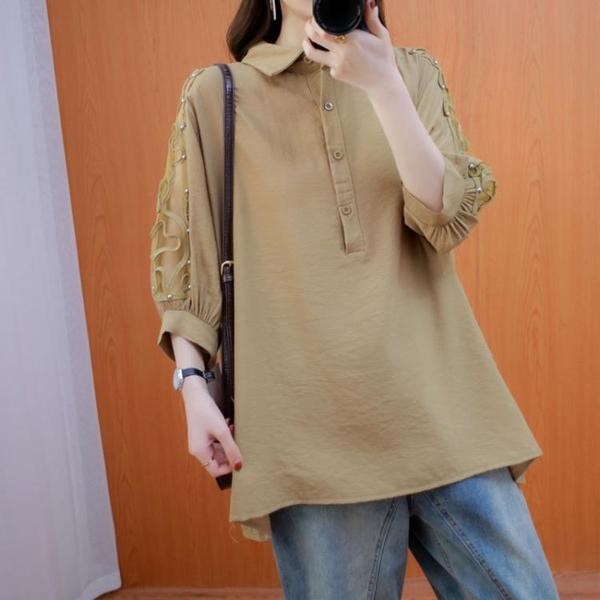 文藝范2021新款夏季大碼女裝復古棉麻休閒寬鬆顯瘦純色襯衫胖妹妹 中大尺碼T恤