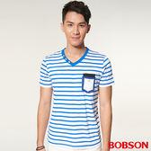 【BOBSON】男款V領條紋上衣 (27019-54)