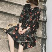 春季碎花短袖連衣裙女新款氣質顯瘦荷葉袖收腰A字裙子連衣裙.4F039.依品國際