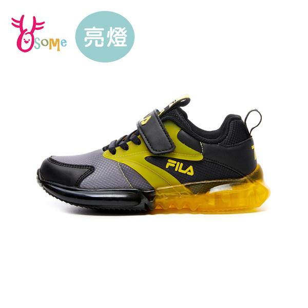 FILA童鞋 男童電燈鞋 閃燈鞋 LED燈鞋 運動鞋 慢跑鞋 運動鞋 跑步鞋 魔鬼氈 康特杯 R7669#黑色