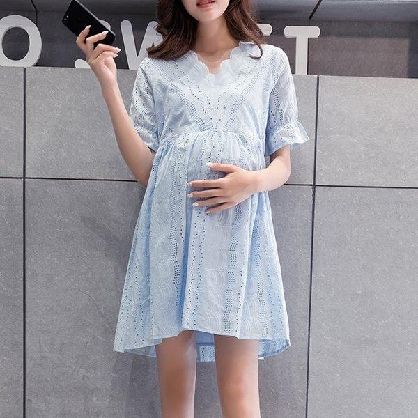 短袖洋裝 【D2028】 布蕾絲 泡泡 短袖 孕婦裙 孕婦裝 娃娃裝
