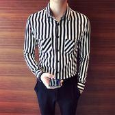 長袖襯衫 法式經典豎條紋口袋設計正韓修身個性帥氣理發師男士休閒 長袖襯衫